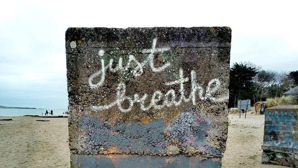 Just Breathe Beach Sign Heartspace Meditation